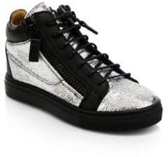 Giuseppe Zanotti Distressed Metallic Leather Mid-Top Sneakers