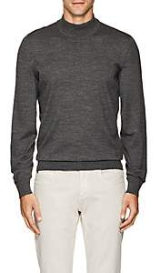 Luciano Barbera Men's Wool Mock-Turtleneck Sweater-Gray