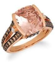 LeVian Le Vian Chocolatier Peach Morganite, Chocolate Diamonds, Vanilla Diamonds and 14K Strawberry Gold Ring