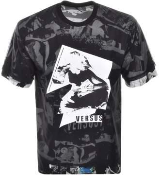 Versace Printed Mesh T Shirt Black