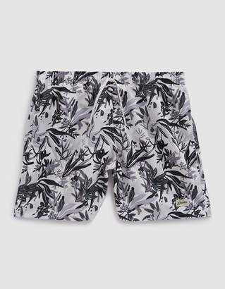 Trunks Bather Mono Jungle Tropics Swim in Black/White