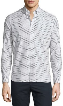 Burberry Brit Abstract Dot-Print Long-Sleeve Sport Shirt, White $295 thestylecure.com