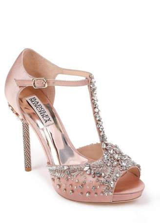 Badgley Mischka Stacey Crystal Embellished T-Strap Sandal