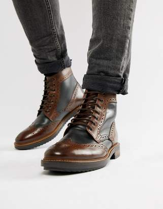 Base London Hopkins brogue boots in brown
