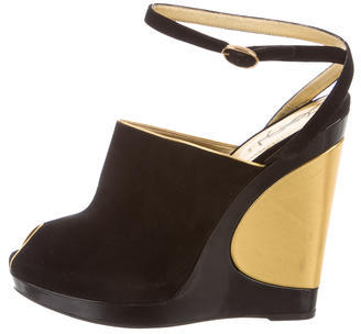 Saint Laurent Yves Saint Laurent Suede Ankle-Strap Wedges