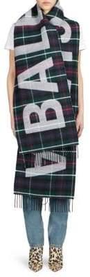 Balenciaga Wool Flannel Plaid Logo Scarf