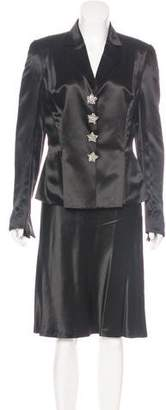 Rena Lange Structured Satin Skirt Suit