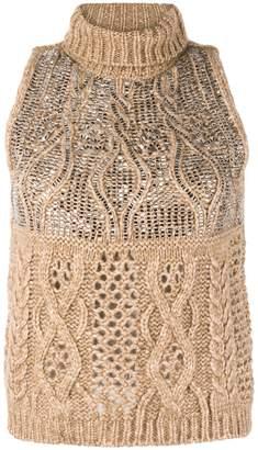 Ermanno Scervino embellished cable knit tank