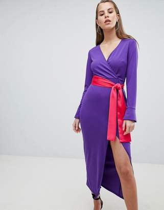 Asos Design DESIGN Maxi Dress With Long Sleeve And Contrast Belt