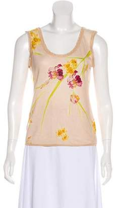 John Galliano Floral Knit Top Champagne Floral Knit Top