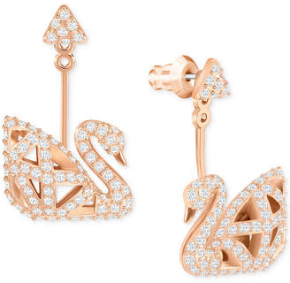 Swarovski Rose Gold-Tone Three Dimensional Pave Swan Drop Earrings
