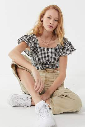 Urban Outfitters Rita Gingham Flutter Sleeve Cropped Top