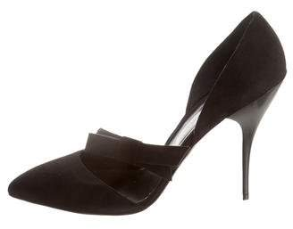 Oscar de la Renta Fauna Suede Pointed-Toe Pumps w/ Tags