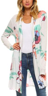 Suvotimo Women Casual Kimono Open Front Floral Print Cardigans Outerwear Jackets L