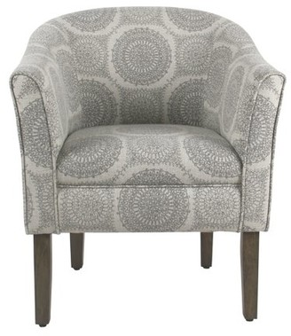 HomePop Tub Shaped Accent Chair-Gray Medallion