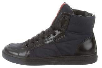 Prada Sport Leather-Trimmed High-Top Sneakers
