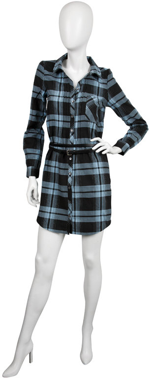 Joie Gemini Plaid Collared Shirt Dress with Belt in Caviar
