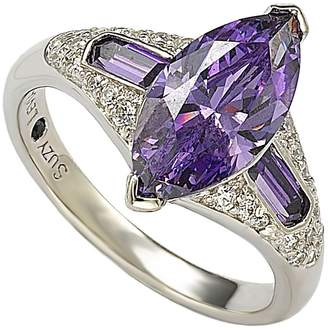 Suzy Levian Jewelry Sterling Silver Purple CZ Marquise Ring