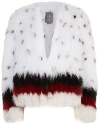 Lilly E Violetta Stripe Trim Fox Fur Jacket