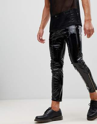 Asos DESIGN 'Stefan' skinny jeans in black vinyl with zip hem