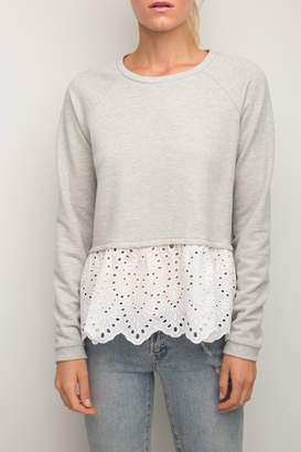 Generation Love Elena Eyelet-Lace Sweatshirt