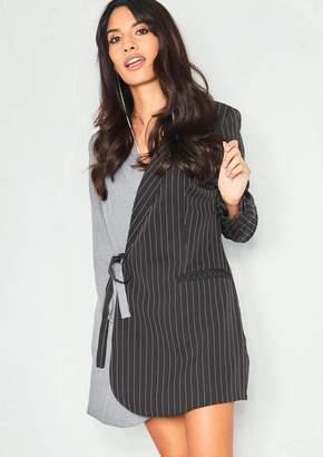 Missy Empire Missyempire Pippa Black Pinstripe Contrast Blazer Dress