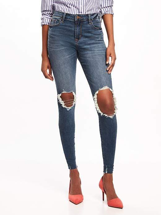 Mid-Rise Rockstar Distressed Ankle Jeans for Women