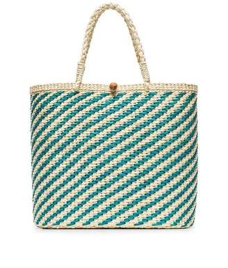 Sensi Studio teal and cream woven straw tote bag