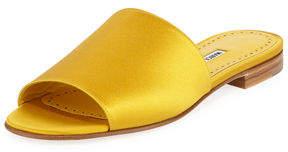 Manolo Blahnik Rapalla Satin Flat Slide Sandals