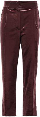 Brunello Cucinelli Cropped Cotton-blend Velvet Tapered Pants