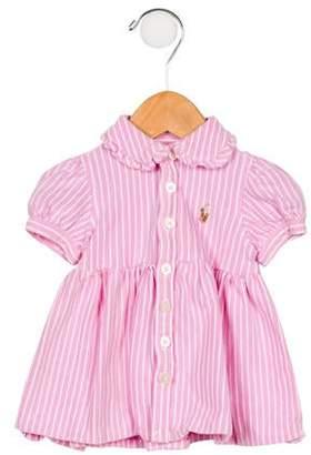 Ralph Lauren Girls' Striped Collared Dress