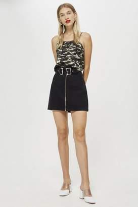 Topshop Petite Double Buckle Denim Skirt