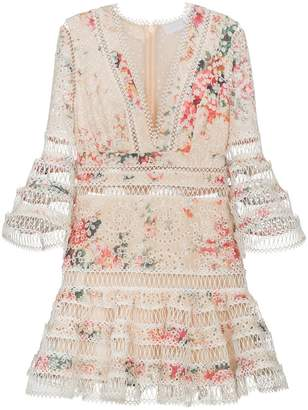 Zimmermann Laelia diamond trim floral print cotton dress