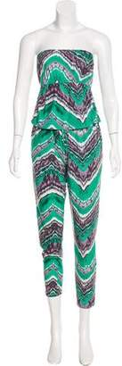T-Bags LosAngeles Tbags Los Angeles Strapless Printed Jumpsuit