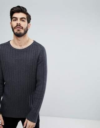 Brave Soul Wide Rib Crew Neck Sweater