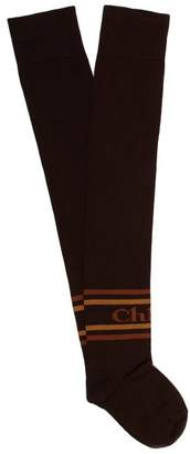 Chloé - Logo Intarsia Knit Cotton Over The Knee Socks - Womens - Dark Brown