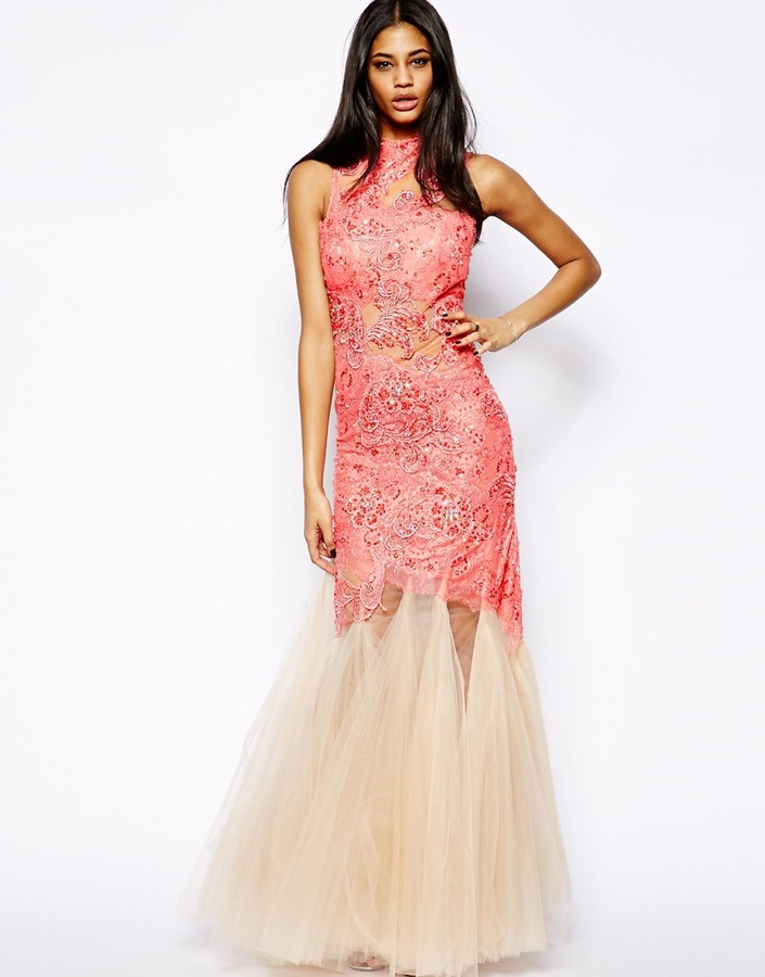 Forever Unique Kassidy Lace Gown - Pink