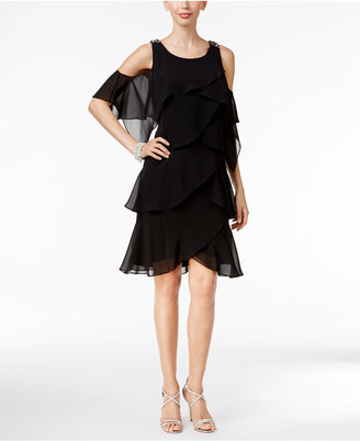 SL Fashions Tiered Chiffon Embellished Cold-Shoulder Dress $99 thestylecure.com