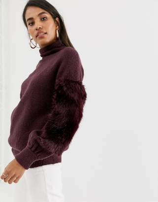 French Connection high neck faux fur sweater