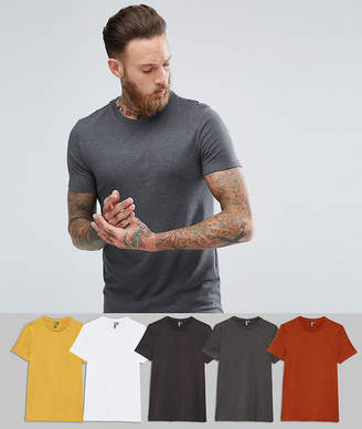Asos DESIGN muscle fit t-shirt with crew neck 5 pack SAVE