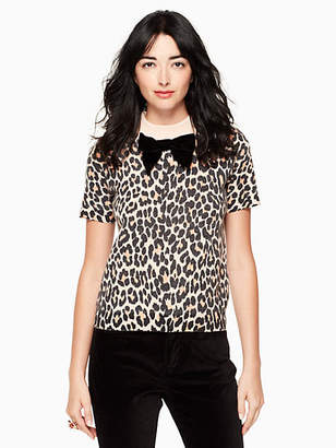 Kate Spade Leopard-print velvet bow sweater