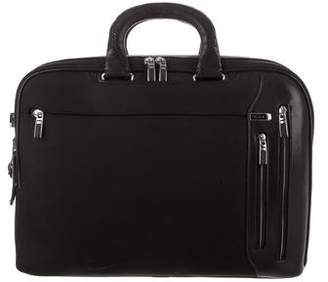 Tumi Leather-Trimmed Canvas Briefcase