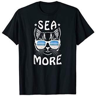 Sea More Pun Funny Summer Beach Vacation Cat Shirt