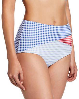 Marysia Swim Sagaponack High-Rise Check Bikini Bottoms