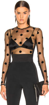 David Koma Polka Dot Flock Bodysuit in Black | FWRD