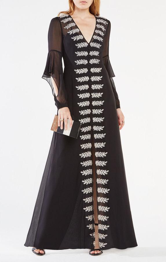 BCBGMAXAZRIABeverle Embroidered Silk Gown