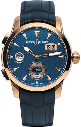 Ulysse Nardin 3346-126LE/93 Classic Dual Time 18ct rose gold and leather watch