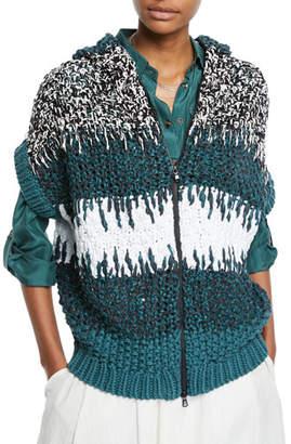 Brunello Cucinelli Hand-Knit Zip-Front Cardigan