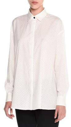 Tomas Maier Perforated Balloon-Back Blouse, White