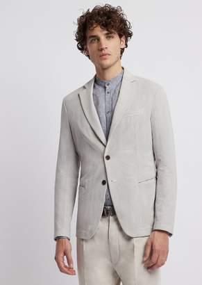 Emporio Armani Single-Breasted Blazer In Fine Stripe-Print Seersucker